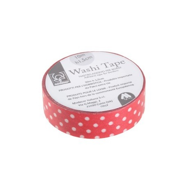 Nastro adesivo per cake board Washi Tape ROSSO A POIS - Modecor in vendita su Sugarmania.it