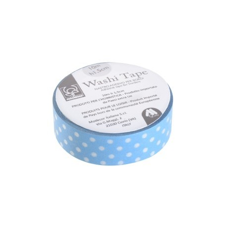 Nastro adesivo per cake board Washi Tape AZZURRO A POIS - Modecor in vendita su Sugarmania.it