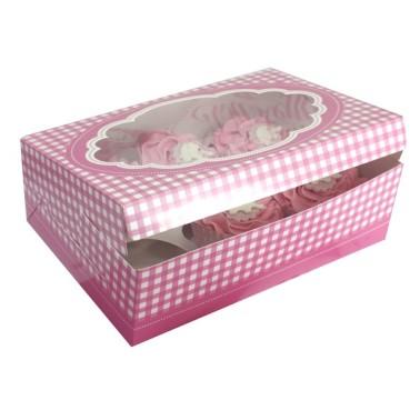 Set 2 scatole porta 6 cupcakes rosa a quadretti - in vendita su Sugarmania.it