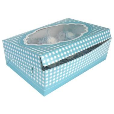 Set 2 scatole porta 6 cupcakes azzurre a quadretti - in vendita su Sugarmania.it