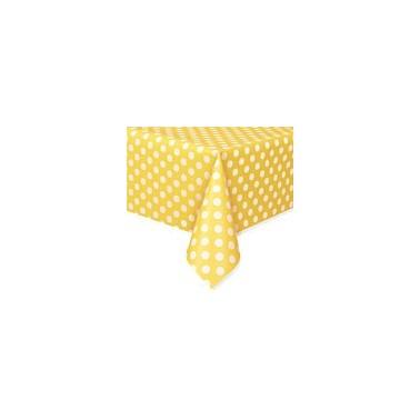 Tovaglia in plastica a pois gialla - in vendita su Sugarmania.it