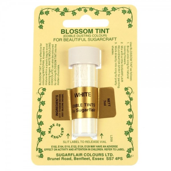 Sugarflair Blossom Tint Powdered Food Colour Dust - WHITE - Sugarflair in vendita su Sugarmania.it