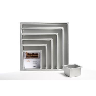 Set completo 7 teglie quadrate professionale alluminio anodizzato altezza 7,5 cm Decora