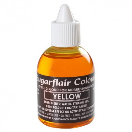 Colorante per aerografo GIALLO (Yelow) Sugarflair 60 ml  - Sugarflair in vendita su Sugarmania.it