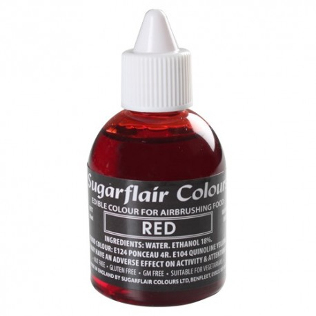 Colorante per aerografo ROSSO (Red) Sugarflair 60 ml  - Sugarflair in vendita su Sugarmania.it
