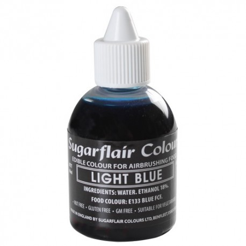 Colorante per aerografo AZZURRO ( Light Blu) Sugarflair 60 ml  - Sugarflair in vendita su Sugarmania.it