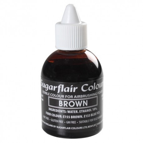 Colorante per aerografo MARRONE (Brown) Sugarflair 60 ml - in vendita su Sugarmania.it