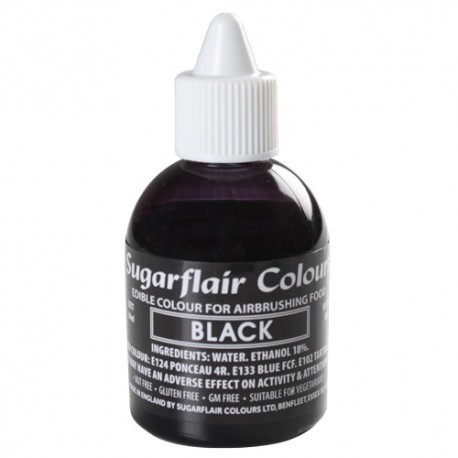 Colorante per aerografo NERO (Black) Sugarflair 60 ml  - Sugarflair in vendita su Sugarmania.it