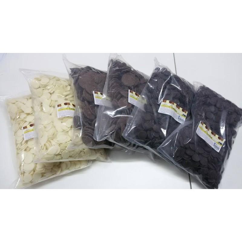 Dischetti di cioccolato surrogato bianco 1 kg - in vendita su Sugarmania.it
