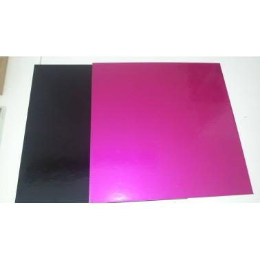 Tavoletta sottotorta quadrata rigida Fucsia-Nero 50 cm - in vendita su Sugarmania.it