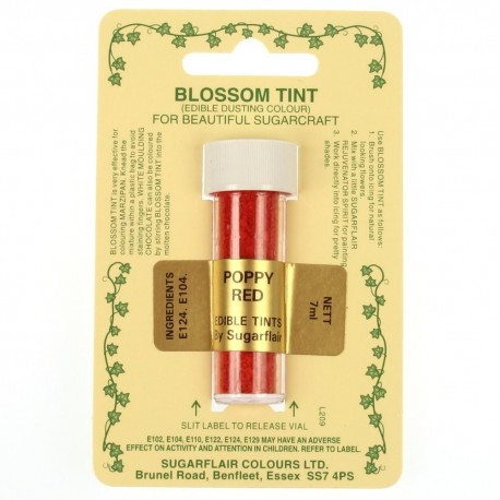 Sugarflair Blossom Tint Powdered Food Colour Dust POPPY RED - Sugarflair in vendita su Sugarmania.it