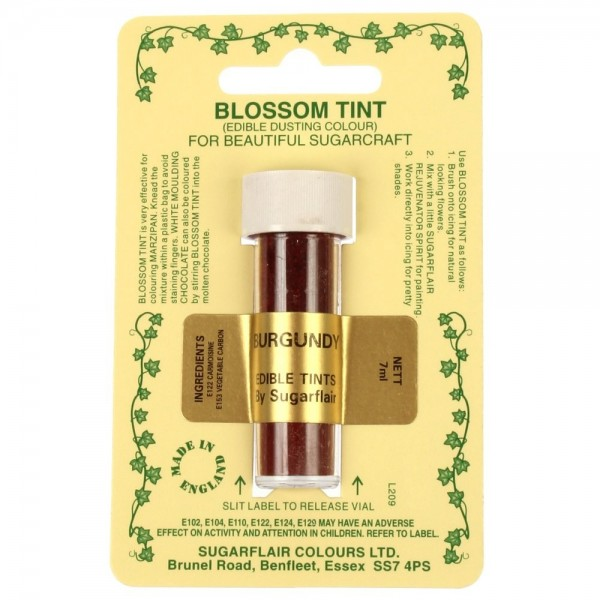 Sugarflair Blossom Tint Powdered Food Colour Dust BURGUNDY WINE - Sugarflair in vendita su Sugarmania.it