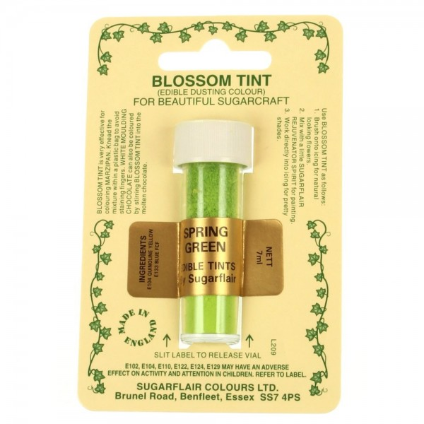 Sugarflair Blossom Tint Powdered Food Colour Dust  SPRING GREEN  - Sugarflair in vendita su Sugarmania.it