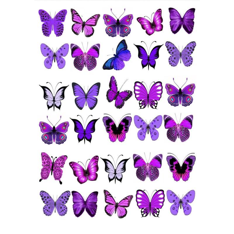 Farfalle in wafer paper viola formato A4 - in vendita su Sugarmania.it