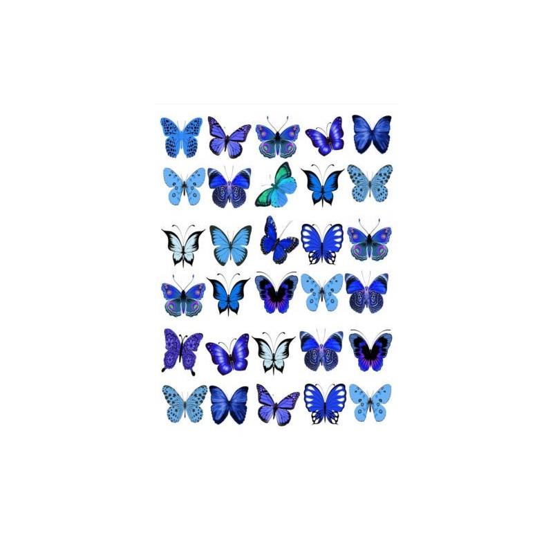 Farfalle in wafer paper blu formato A4 -  in vendita su Sugarmania.it