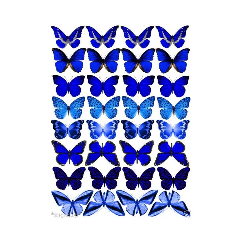 Farfalle in wafer paper blu 1 formato A4 - in vendita su Sugarmania.it