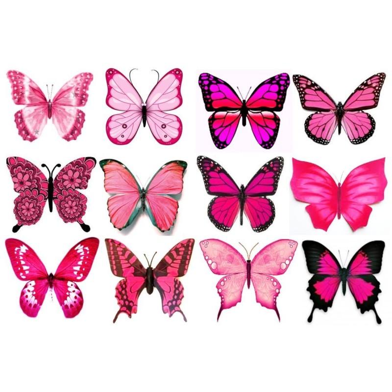 Farfalle in wafer paper rosa grandi formato A4 -  in vendita su Sugarmania.it