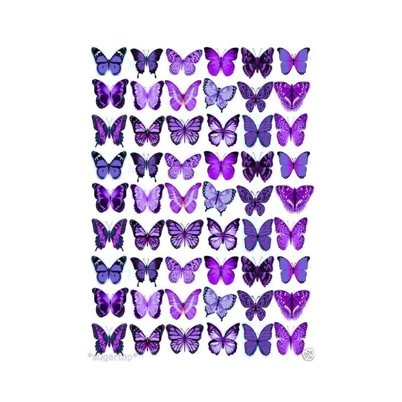 Farfalle in wafer paper viola 1 formato A4 -  in vendita su Sugarmania.it