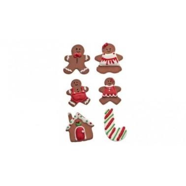 Set 6 decorazioni in zucchero Pan di zenzero Decora - Decora in vendita su Sugarmania.it