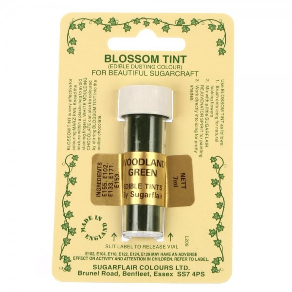 Sugarflair Blossom Tint Powdered Food Colour Dust  WOODLAND GREEN - Sugarflair in vendita su Sugarmania.it