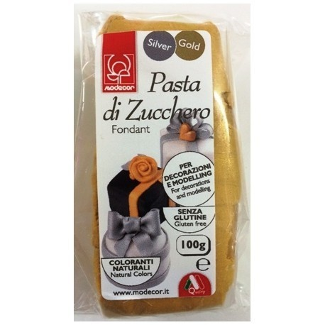 Pasta di zucchero Oro Modecor 100 grammi - Modecor in vendita su Sugarmania.it