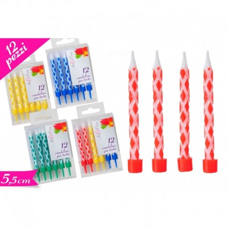 Candeline set 12 pezzi multicolor -  in vendita su Sugarmania.it