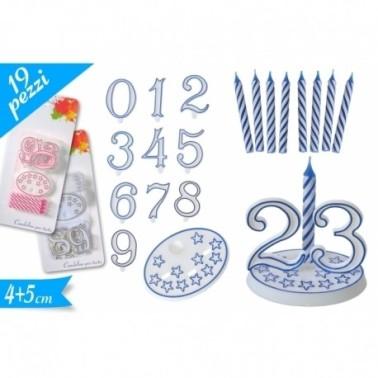 Candeline set 19 pezzi azzurro -  in vendita su Sugarmania.it