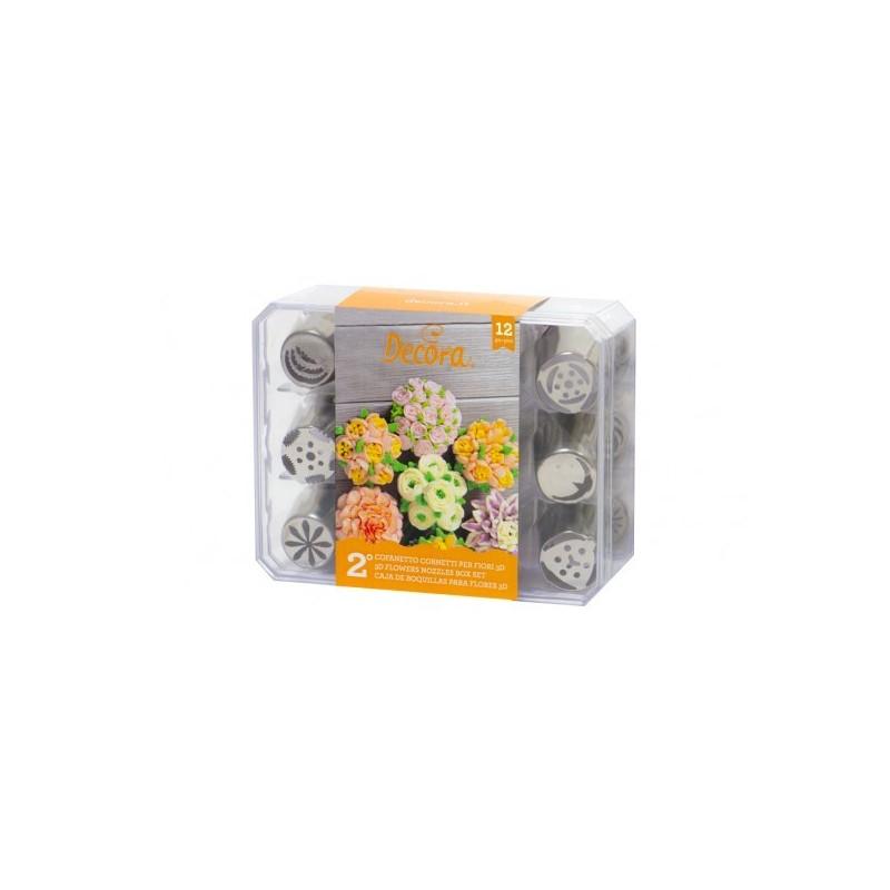 Cofanetto 12 cornetti per fiori 3d Decora Arancione - Decora in vendita su Sugarmania.it