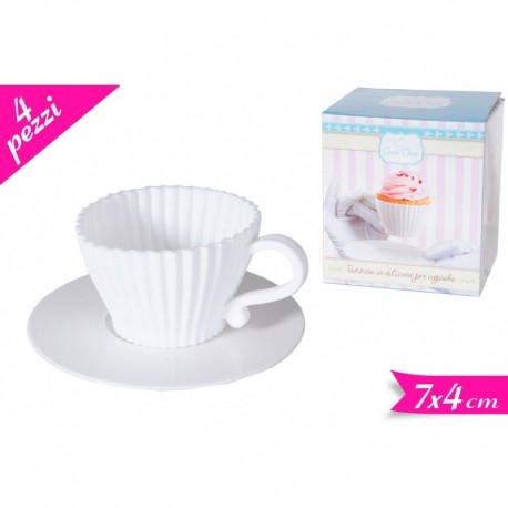 Set 4 tazzine e 4 piattini in silicone - in vendita su Sugarmania.it