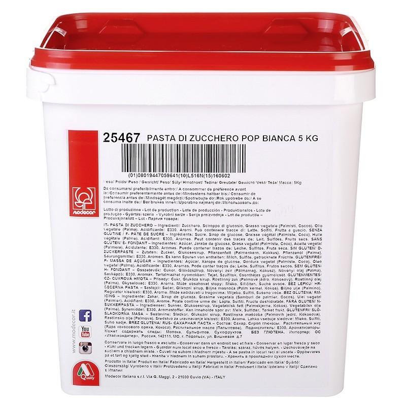 Pasta di zucchero MODECOR POP Bianca 5 kg - Modecor in vendita su Sugarmania.it