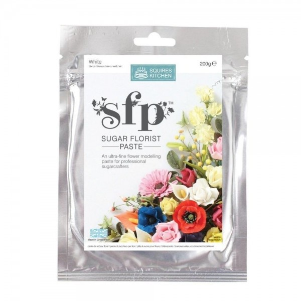 Sugar florist paste Squires Kitchen 200 grammi BIANCO opaco - Squires Kitchen in vendita su Sugarmania.it