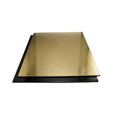 Tavoletta sottotorta quadrata rigida Oro-Nero 25 cm - Vica in vendita su Sugarmania.it