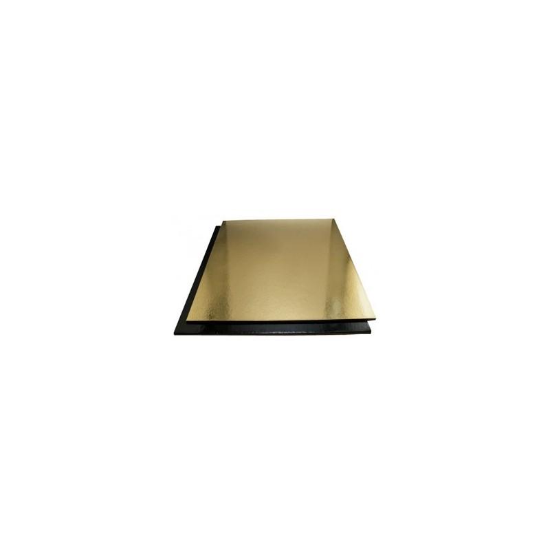 Tavoletta sottotorta quadrata rigida Oro-Nero 35 cm - Vica in vendita su Sugarmania.it