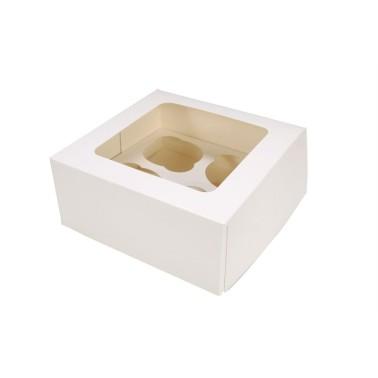 Scatola porta 4 cupcakes BIANCA - in vendita su Sugarmania.it