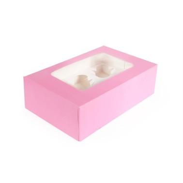 Scatola porta 6 cupcakes ROSA - in vendita su Sugarmania.it
