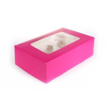 Scatola porta 6 cupcakes FUCSIA - in vendita su Sugarmania.it