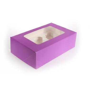 Scatola porta 6 cupcakes VIOLA - in vendita su Sugarmania.it