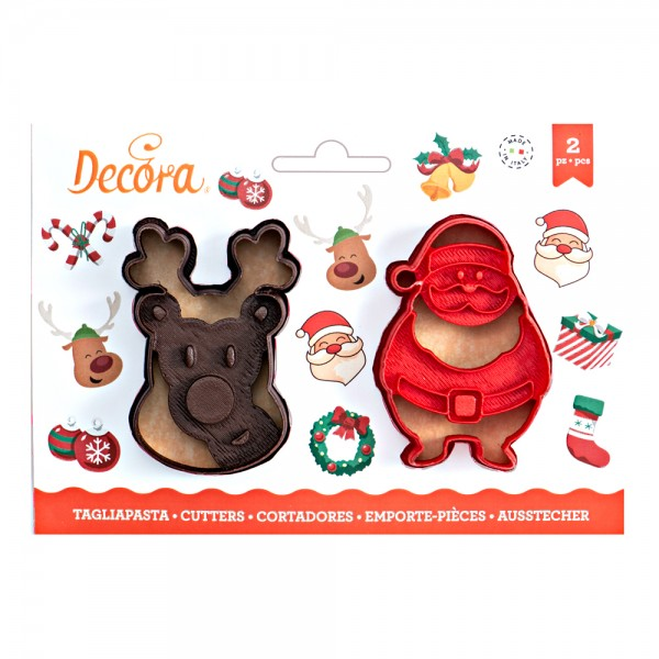 Set 2 tagliapasta Babbo Natale e renna - Decora in vendita su Sugarmania.it
