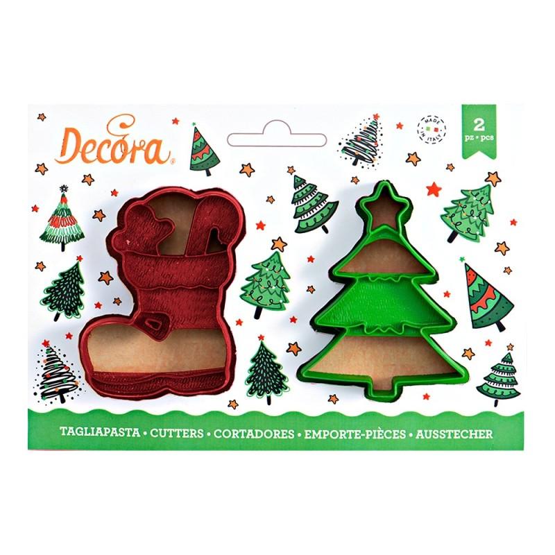 Set 2 tagliapasta albero di Natale e scarpone - Decora in vendita su Sugarmania.it