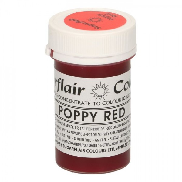 Sugarflair Paste Colour POPPY RED, 25gr. - Sugarflair in vendita su Sugarmania.it