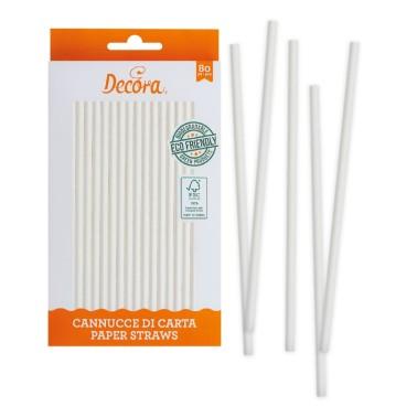 Cannucce bianche in carta bio 80 pezzi Decora -  in vendita su Sugarmania.it