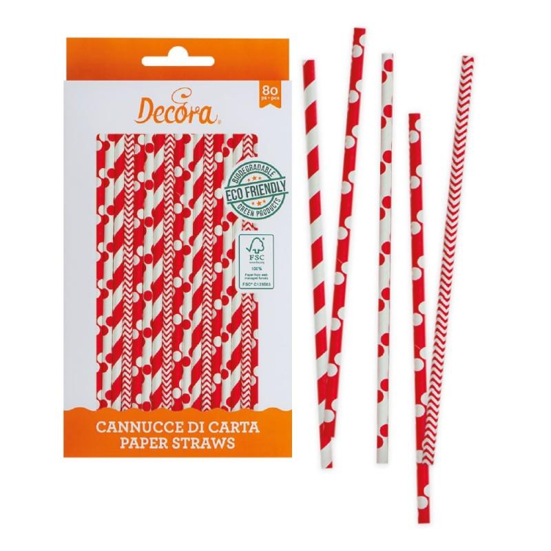 Cannucce rosso bianche in carta bio 80 pezzi Decora -  in vendita su Sugarmania.it