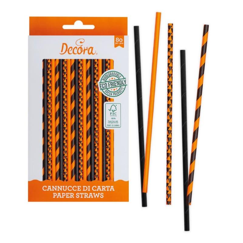 Cannucce arancio nere in carta bio 80 pezzi Decora -  in vendita su Sugarmania.it