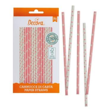 Cannucce rosa bianche in carta bio 80 pezzi Decora -  in vendita su Sugarmania.it