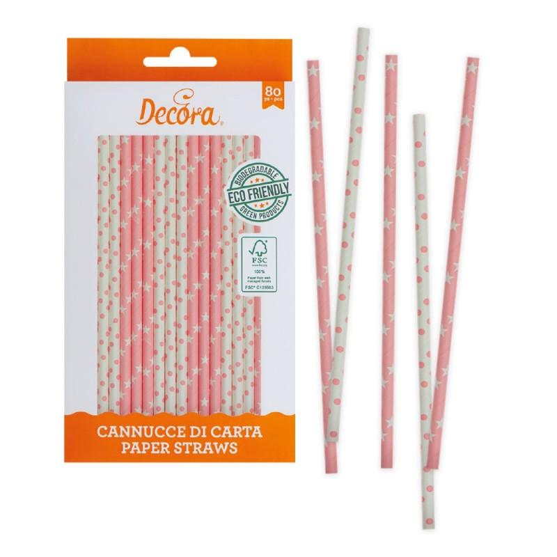 Cannucce rosa bianche in carta bio 80 pezzi Decora - Decora in vendita su Sugarmania.it