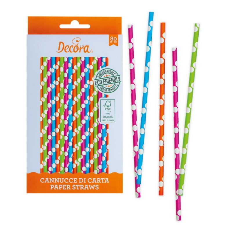 Cannucce multicolore in carta bio 80 pezzi Decora -  in vendita su Sugarmania.it