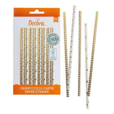 Cannucce oro bianche in carta bio 80 pezzi Decora -  in vendita su Sugarmania.it