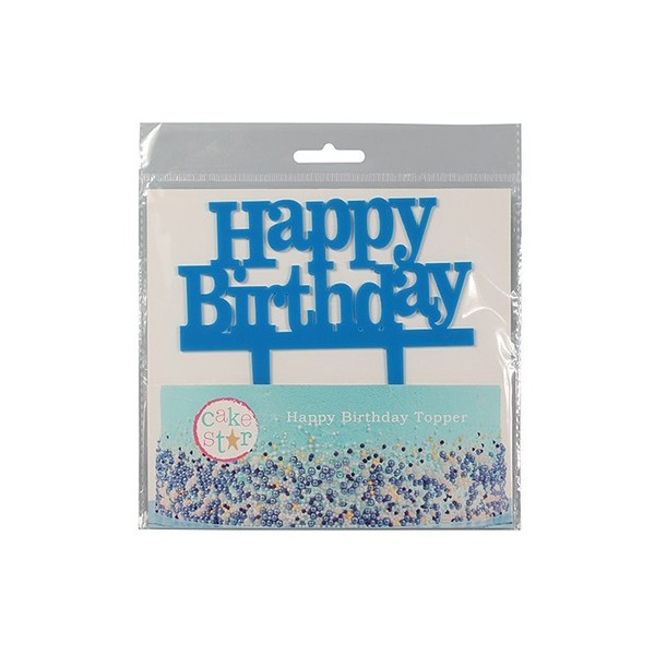 Cake Topper Happy Birthday azzurro - Culpitt in vendita su Sugarmania.it