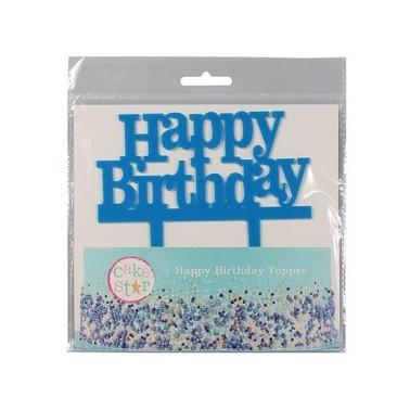 Cake Topper Happy Birthday azzurro - Culpitt in vendita su Sugarmania.it