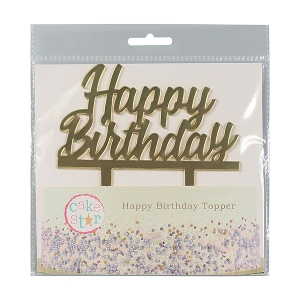 Cake Topper Happy Birthday oro - Culpitt in vendita su Sugarmania.it